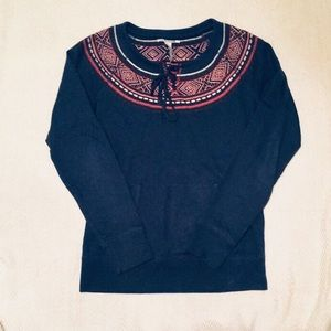Lucky Brand Navy Beaded Embroidered Sweatshirt